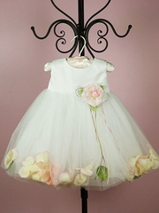 Ivory Satin Petal Flower Girl Dress