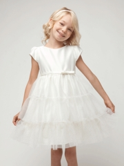 Ivory Satin & Tiered Glitter Mesh Dress
