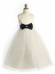 Ivory Stunning Flower Girl Dress with Preformed  Bow