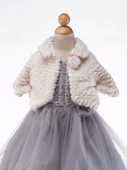 Ivory Swirl Pattern Faux Fur Cape