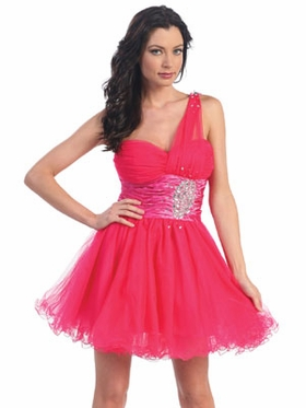 Jewel Accent w/Tulle Short Prom Dress