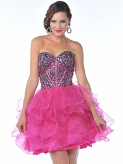 Jewel Accented Bodice & Multi Layered Short Prom Dress