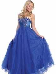 Jewel Accented Bodice with Pleating Waist Long Prom Dress