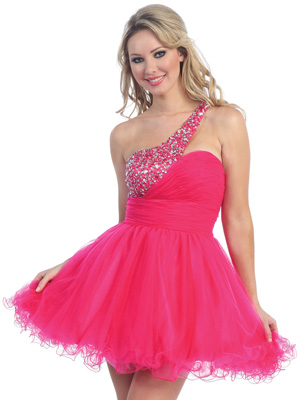 Jewel Accented One Shoulder Short Prom Dress
