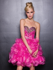 Jeweled Sweetheart Prom Dress with Ruffled Frosting