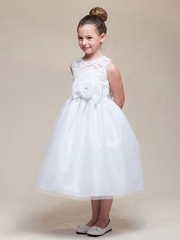 Lace and Tulle Flower Girl Dress With Bow