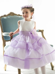 Layered Organza Flower Girl Dress with Satin Top