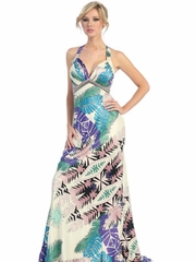 Leaves Printed Long  Party Dress