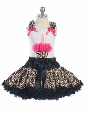 Leopard Design with Red Cupcake Girls Tutu Set