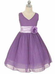 Lilac Chiffon Dress with Pin-on Flower