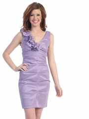 Lilac Rosette Neck Short Prom Dress