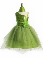 Lime Green Sequined Dress with Tulle Skirt