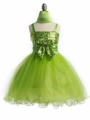Lime Green Sequins Graduation Dress