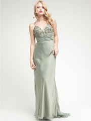 Long Beaded Silk Dress