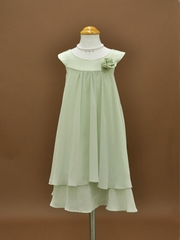 Sage Chiffon Layered Flowergirl Dress