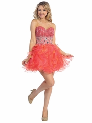 Lovely Jewel Accented Prom Dress with Short Tulle Skirt