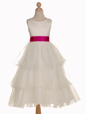 Lovely Layered Satin Flower Girl Dress with Changeable Sash