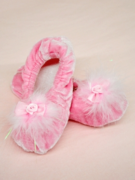 Lovely Pink Fur Ballet Shoes