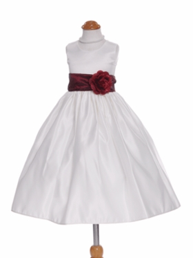 Lovely Satin White Flower Girl Dress