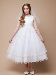 3-Tiered V-Neck Ruched Bodice First Communion Dress - Best Seller