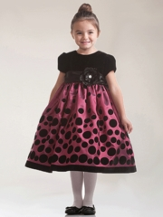 Magenta Velvet Holiday Dress with short sleeves