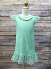 Mesh and Lace Summer Dress with Necklace
