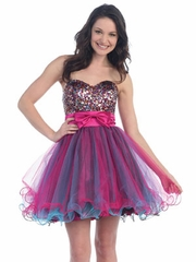 Metallic Bodice & Overlay Tulle Skirt Dress