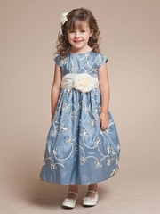 Mettalic Ribbon Embroidered Flower Girl Dress