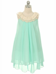 Mint Elegant  Empire Waist Chiffon Dress
