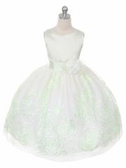 Mint Elegant Floral Tape Embroidery Flower Girl Dress