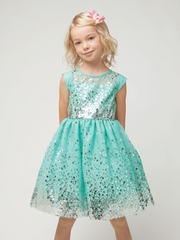 Mint Gradient Sequin Mesh Dress