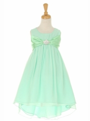 Mint Hi-low Chiffon Flower Girl Dress