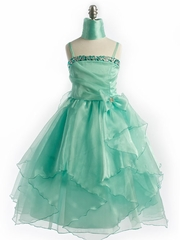 Mint Jewel Organza Dress with Matching Shawl