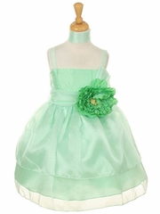 Mint Organza Layered Flower Girl Dress with Peony Flower