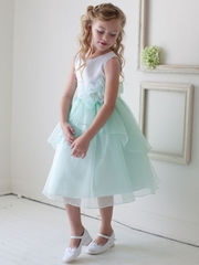 Mint Satin and Organza Overlay Flower Girl Dress