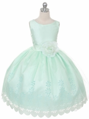 Mint Tulle Flower Girl Dress with Floral Design Skirt