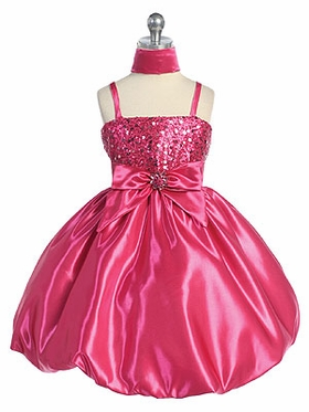 Multi-Colored Sparkle Bodice w/Bubble Hem Skirt Flower Girl Dress