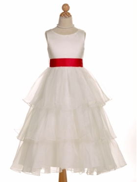 Multi-Tiered Organza Flower Girl Dress with Contrast Sash