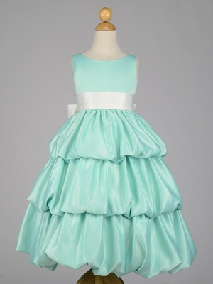 Multi Tiered  Satin Bubble Flower Girl Dress