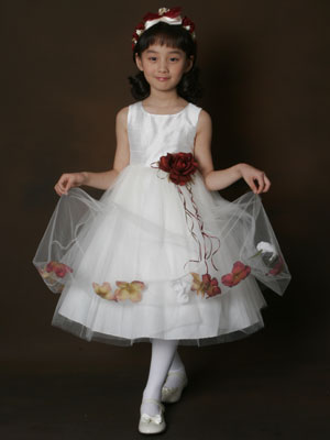 Girl's Silk Dress with Floral Petal