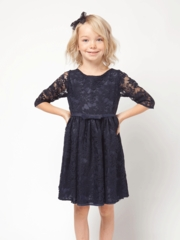 Navy Blue 3/4 Sleeve Lace Dress