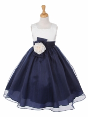 Navy Organza Dress with Pin-on Flower and Bow