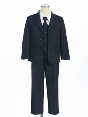 Navy  Solid Single Breasted  Boy's Suit