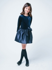Navy Velvet and Satin Drop Waist Holiday Dress