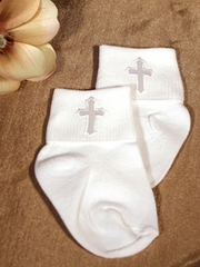 Nylon Anklet  Boys Socks  w/ Embroidered Cross Applique