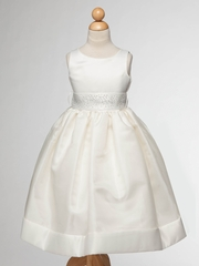 Off White Flower Girl Dress with Satin Top