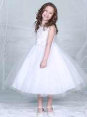 Off white Tulle Skirt Dress with Floral Top and Pin on bow