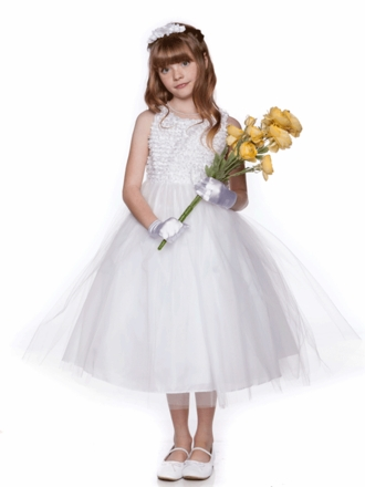 White Tulle Skirt Dress with Floral Top and Pin on bow