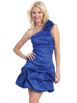 One Shoulder with A Rose Short Prom Dress
