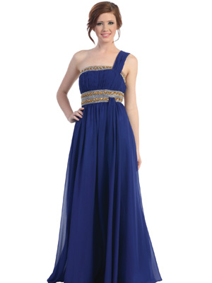 One Shoulder with Bead Long Prom Dress